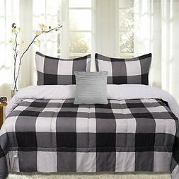 Sweet Home Collection 4 Piece Buffalo Check Comforter Set