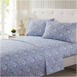 Mellanni 4-Piece Bed Sheet Set Paisley, Deep Pockets 1800 Co