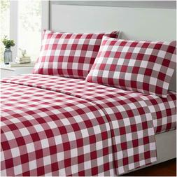 Mellanni 4-Piece Bed Sheet Set Plaid - Deep Pocket Wrinkle R