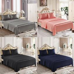 4 Piece Satin Silk Sheet Set Deep Pocket Fitted Bed Sheet Fl