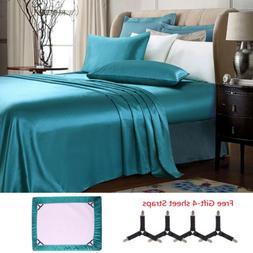 Luxury 2/4 Pieces Super Soft Satin Silky Bed Sheet Set Deep