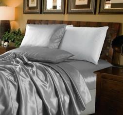 Chezmoi Collection 4-Piece Solid Silver Bridal Satin Sheet S