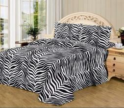 4 Piece Zebra Animal Print Collection 550 Series Bed Sheet A