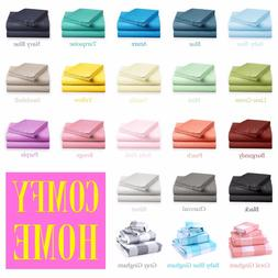 40% OFF - 4 Piece Bed Sheet Set Solid Color Deep Pocket Hote