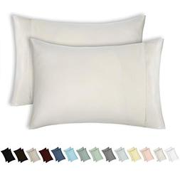 400 Thread Count 100% Cotton Pillow Cases, Ivory King Pillow