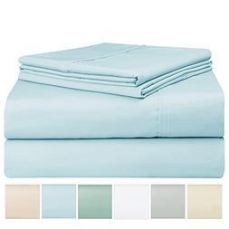 400 Thread Count Sheet Set, 100% Long Staple Cotton Light Bl