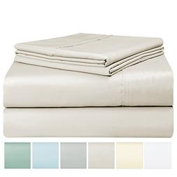 Pizuna 400 Thread Count Cotton King Sheet Set, 100% Long Sta