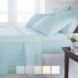 Pizuna 400 Thread Count King Sheets Set Cotton Light Blue, 1