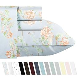 400-Thread-Count 100% Cotton Sheets - 4 Pc Light Blue Floral