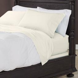 Cuddledown 400TC Flat Sheet King Size Ivory Sateen Bedding 1