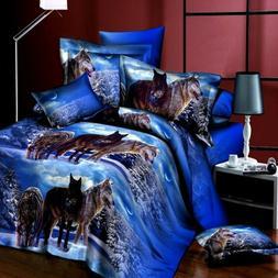 4Pcs 3D Wolf Bedding Set Duvet Quilt Cover Pillowcase Sheet