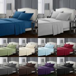 4pcs Bed Sheets Set 1800 Count Plain Solid Wrinkle Free Soft