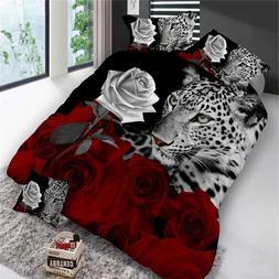 4Pcs <font><b>King</b></font> Size Luxury 3D Rose Bedding <f