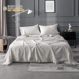 King Linens 4pcs Linen Sheet Set Stone Washed Solid Color Fl