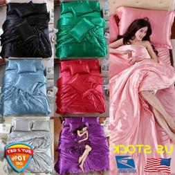4PCS Solid Silk Bedspreads Bed Linen Cotton Duvet Cover Sets