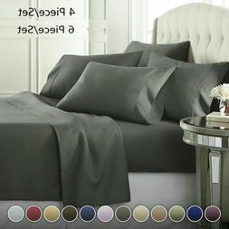 6/4 Piece Comfort 1800 Thread Count Deep Pocket Bed Sheet Se