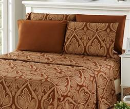 6 Piece: Paisley Printed Bed Sheet Set 1800 Count Egyptian Q