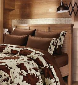 6 PC KING SIZE CHOCOLATE RODEO COWHIDE WESTERN COWBOY BEDDIN