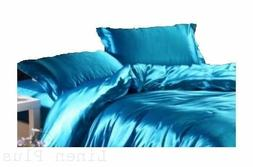 6 PC Turquoise  Satin Silky Sheet Set King Size Flat Fitted