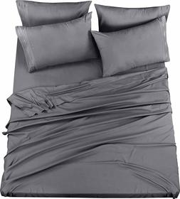 6 Piece Bed Sheet Set With Embroidered Pillow Cases King  &