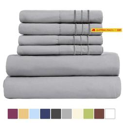 EASELAND 6-Pieces 1800 Thread Count Microfiber Bed Sheet Set