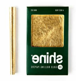 Shine 6 Sheet Pack 24k Gold Rolling Papers King Size