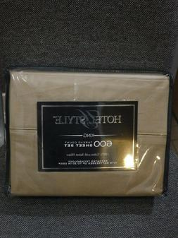 Hotel Style 600 Count King Clay Beige Sheet Set 100% Cotton