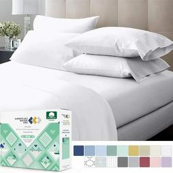 600-Thread-Count 100% Cotton Sheets Pure White King Size, 4-