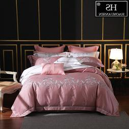 650 Thread Count Pale Mauve Embroidery 4 Piece Bedding Sets