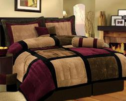 7 Piece Burgundy Brown Black Bed in a Bag Micro Suede King C