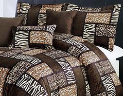 7 Piee KING Size Safari Comforter set - Leopard, Tiger Zebra