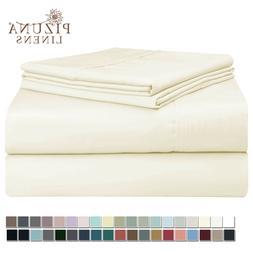 Pizuna 400 Thread Count Cotton Sheets Set King White, 100% L
