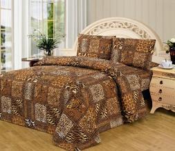 Black Brown Leopard Zebra King Size Sheet Set 4 Pc Safari An