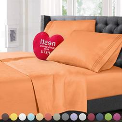 Cal King Size Bed Sheets Set Light Orange, Highest Quality B