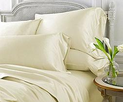 IVORY SOLID KING SIZE BED SHEET SET 1000 THREAD COUNT EGYPTI