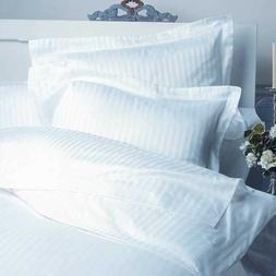 KING SIZE WHITE STRIPE BED SHEET SET 800 THREAD COUNT 100% E