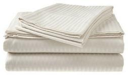 King Size White 400 Thread Count 100% Cotton Sateen Dobby St