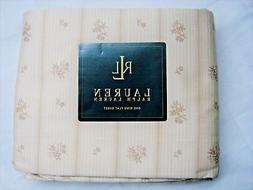 New Ralph Lauren VILLANDRY stripe King flat sheet floral tan