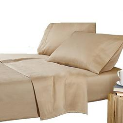 Adjustable King Bed Sheets 5 PCs Beige Solid Egyptian Cotton