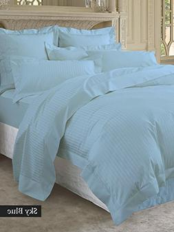 Adjustable King Bed Sheets 5 Pieces Light Blue Stripe 100% E