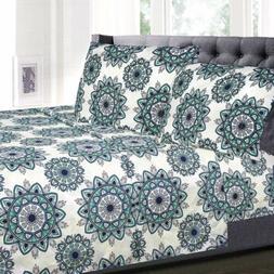Ashley Green Mandala Pattern 4-Piece 1800 Thread Count Sheet