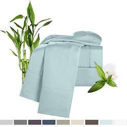 Clara Clark Bamboo Bed Sheet Set, Light Blue , King Size, 10