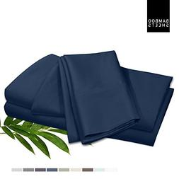 Bamboo Bed Sheet Set, Navy, Cal King, Made From 100% Rayon B