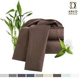 Bamboo Bed Sheet Set, Brown  Cal King Size, Clara Clark, 100