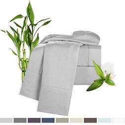 Bamboo Bed Sheet Set, Silver  Cal King, By Clara Clark, 100%