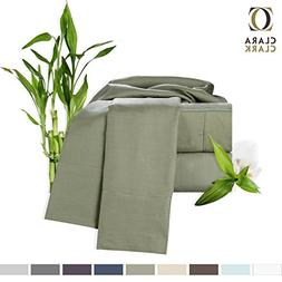 Clara Clark Bamboo Bed Sheet Set, Sage  King Size, 100% Rayo