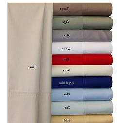 100% Bamboo Bed Sheet Set - Top Split King, Solid Beige - Su
