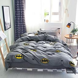 Papa&Mima Batman Fashion Cartoon Style Duvet Cover Set Pillo