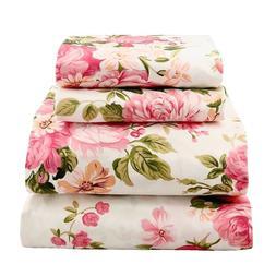 Beautiful Soft Breathable 4 pcs Bedding Sheet Set Pink Olive