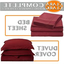 Clara Clark Bed Sheet and Duvet Cover Set Complete 7 Piece,